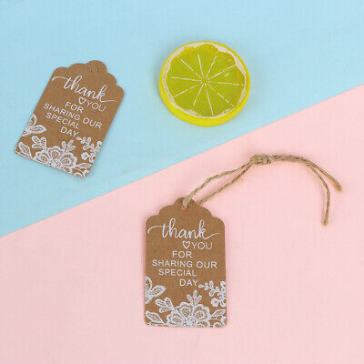 50Pcs Thank You Gift Tags Lace Print Kraft Paper Tags Wedding Favor Gift Lab SL - Favor Tags