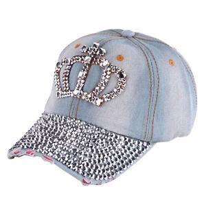 d9908888383e8 Fashion Women Denim Jean Rhinestone Sparkle Stud Bling Crown Baseball Cap  Ha uf