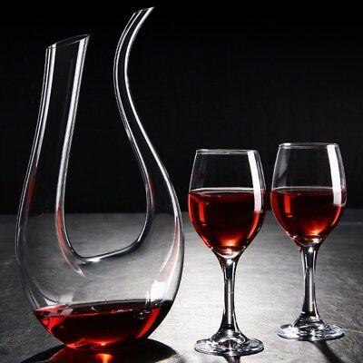 Luxurious Crystal Glass U Shape Wine Decanter Wine Pourer Red Wine Carafe 1500ml