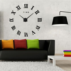 Luxury Large 3D Wall Clock Roman Numerals Clock Home Office Decor DIY Stickers