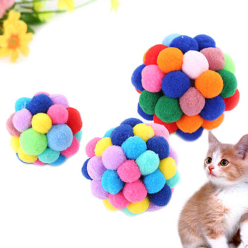 Pet Cat Toy Colorful Handmade Bells Bouncy Ball Built In Catnip Interactive NP