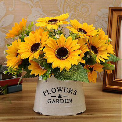 7 Heads Chic Fake Sunflower Artificial Silk Flower Bouquet Home Floral Decor. SY