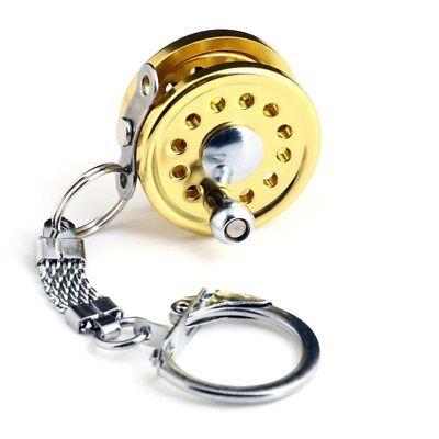 Novelty Trolling Fishing Spinning Reel Miniature Gift Tool Keychain Key Ring - Fish Keychain