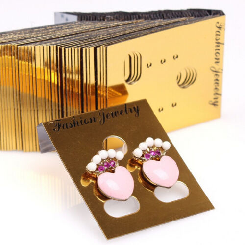 100X Gold Professional Type Plastic Earring Studs Holder.Display Hang Cards EVV