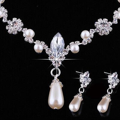 Fashion Wedding Faux Pearls Rhinestone Necklace Water Drop Earring Jewelry Se U.