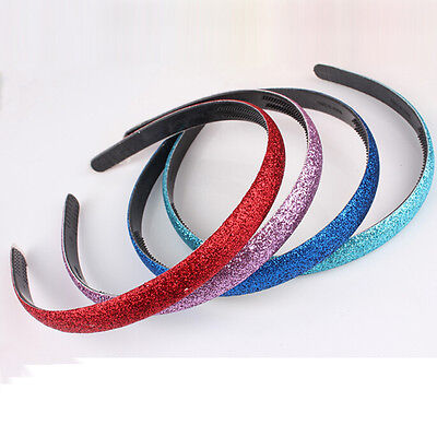 1x Women Plastic Hair Accessories Glitter Covered Hairband H