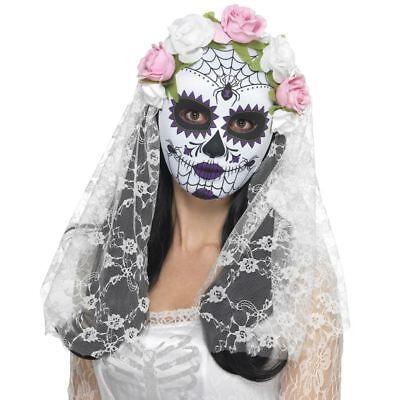 Sugar Skull Skeleton Day of the Dead Bride Mask Veil Fancy Dress Halloween
