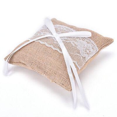 Rustic Wedding Party Vintage Lace Burlap Jute Ring Bearer Pillow Cushion HDUK