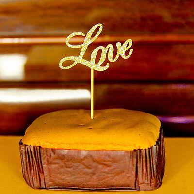 Love style cake top hat flash glitter gold wedding decoration engagement parHV