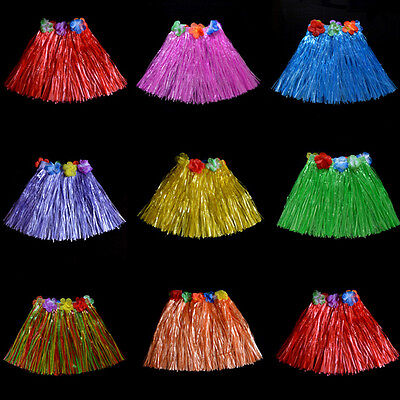 Kids Hula Skirt (30/40cm Fashion Kids Adult Hawaiian Hula Grass Skirt Flower Wristband)