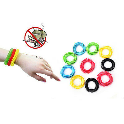 10Pcs Anti Mosquito Insect Repellent Wrist Hair Band Bracelet Camping Outdoor OE