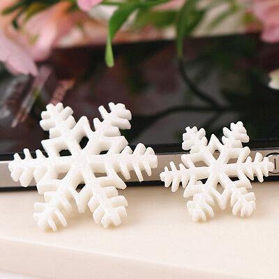 Flocken-frohe Weihnachten-Harz-flache Rückseite Dekoration CN (Weiße Schneeflocke Dekorationen)