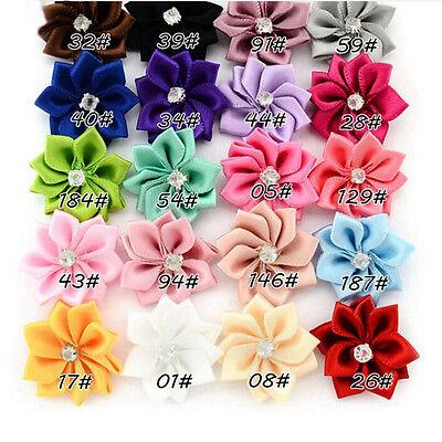10x Baby Kids Satin Flower Hair Bow For Headband Hair clip Wedding DecorP&T