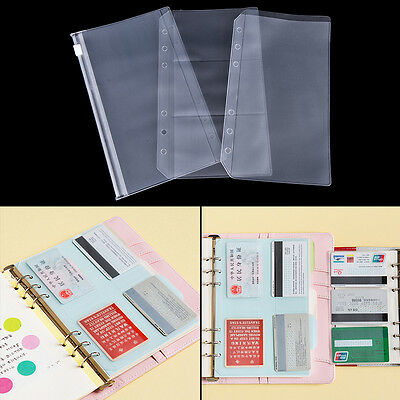 A5a6 Transparent Zip Lock Envelope Binder Pocket Refill Organiser Station Z0j