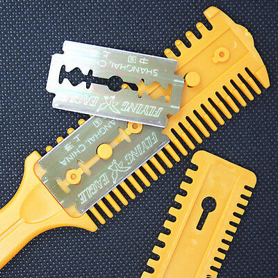 Barber Scissor Hair Cut Styling Razor Magic Blade Comb Hairdressing Tool Kit TB