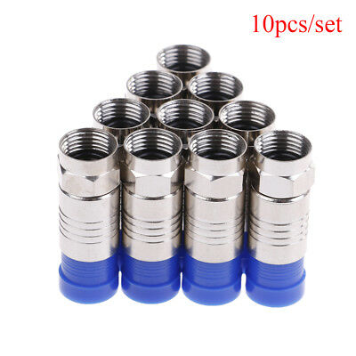 10x F-Type Male Plug Compression Connector Adapter Great For RG6 Coax Coaxial KI Compression Male F-type Connector