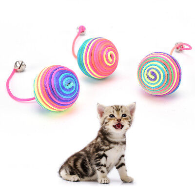 cat kitten dog pet colorful bell nylon ball playing toy gift chew squeaky  GA