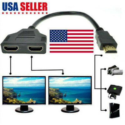 - 1080P HDMI Port Male to 2Female 1 In 2 Out Splitter Cable Adapter ConverterHFUS