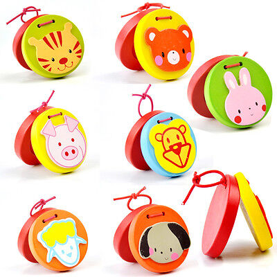 Cartoon Castanets Infant Wooden Musical Toy Instrument Educational Kid Children,