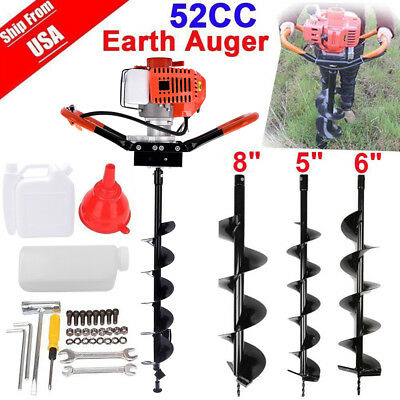 Gas Powered 52cc Earth Auger Power Engine Post Hole Diggerdrill Bit Ground1800w