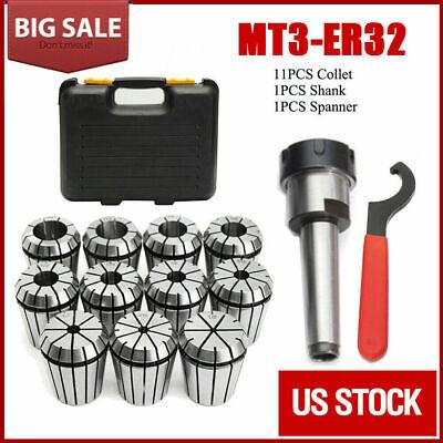 Precision Er32 Collet Set Mt3 Shank Chuck Spannerbox For Milling Machine Usa