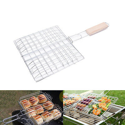 Barbecue Grilling Basket Grill  Net Wooden Handle Steak Meat Fish Vegetabl bd