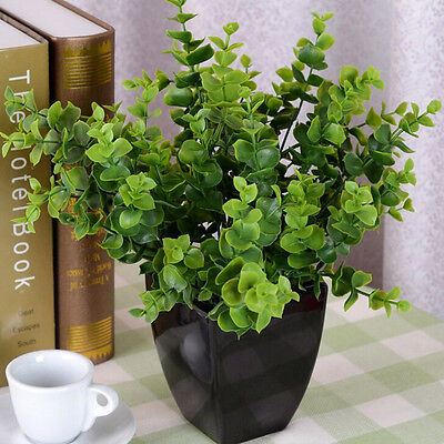 7-Branches Artificial Fake Plastic Silk Eucalyptus Plant Flowers Home Decor HV
