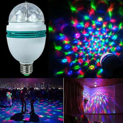 3W Colorful Rotating Stage RGB LED Light Bulb Xmas Party Disco DJ Lamp E27