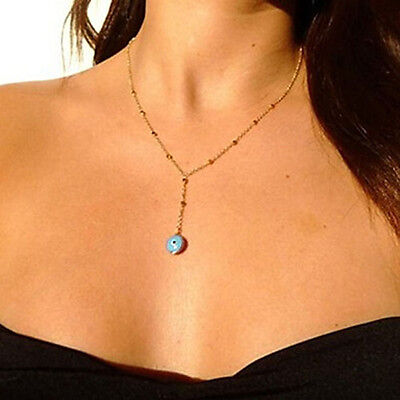 New Blue Evil Eye  Metal Beads Gold Chain Pendant Necklace Fashion Jewelry to  B Blue Evil Eye Pendant