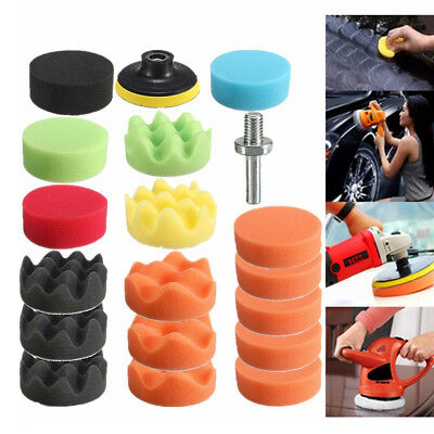 Polished Auto - 19PCS 3 Inch Polishing Pad Sponge Buff Buffing Kit Set For Car Polisher 80mm