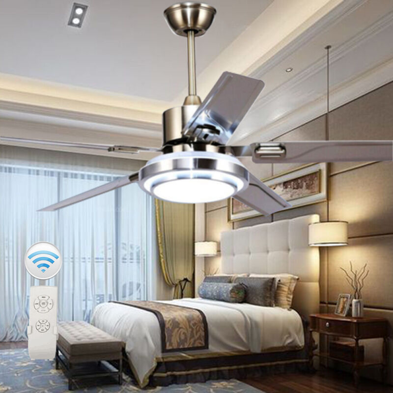 "52"" Remote Control Ceiling Fan Lamp Light Stainless Steel Ch"