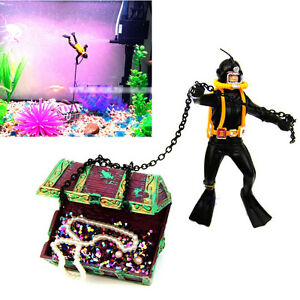 Frogman Diver Treasure Fish Tank Chest Shaped Action Air Ornament Aquarium HL