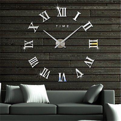 Wanduhr Deko Spiegel Wandtattoo 3D Design Wand Uhr Wohnzimmer Büro XXL Silber