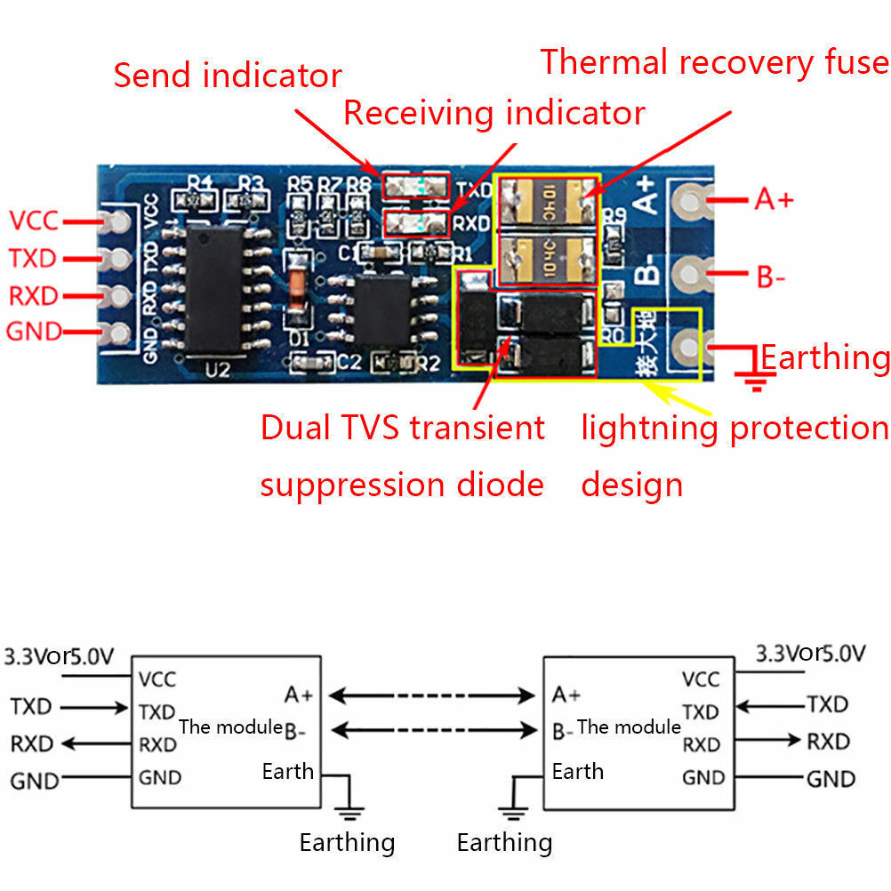 Stable UART serial port to RS485 converter function module RS485 to TTL modul~