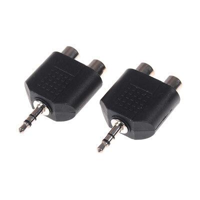 2Pcs 3.5mm to dual 2 RCA female male jack audio adapter converter  I