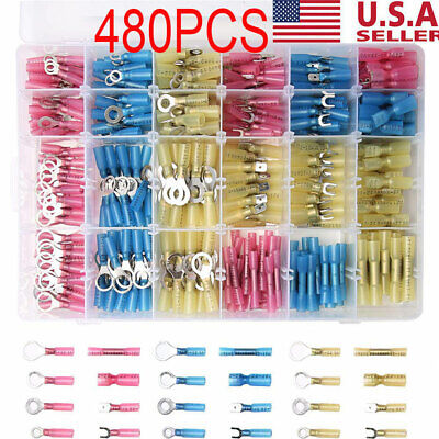 480pcs HEAT SHRINK WIRE CONNECTOR ASSORTMENT AUTOMOTIVE MARINE KIT USA