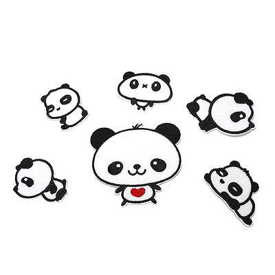 6 Sweet Pandas Embroidery Cloth Iron On Patch Sew Motif Applique Kawaii U0b