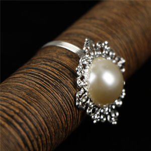 6X Pearl Napkin Rings Serviette Buckle Holder Wedding Dinner Party Table DecorTa