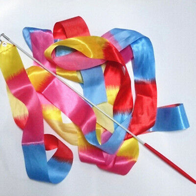 4m Kids Dance Ribbon  Gym Rhythmic Art Gymnastic Ballet Streamer Twirling Rod ES - Dance Ribbon