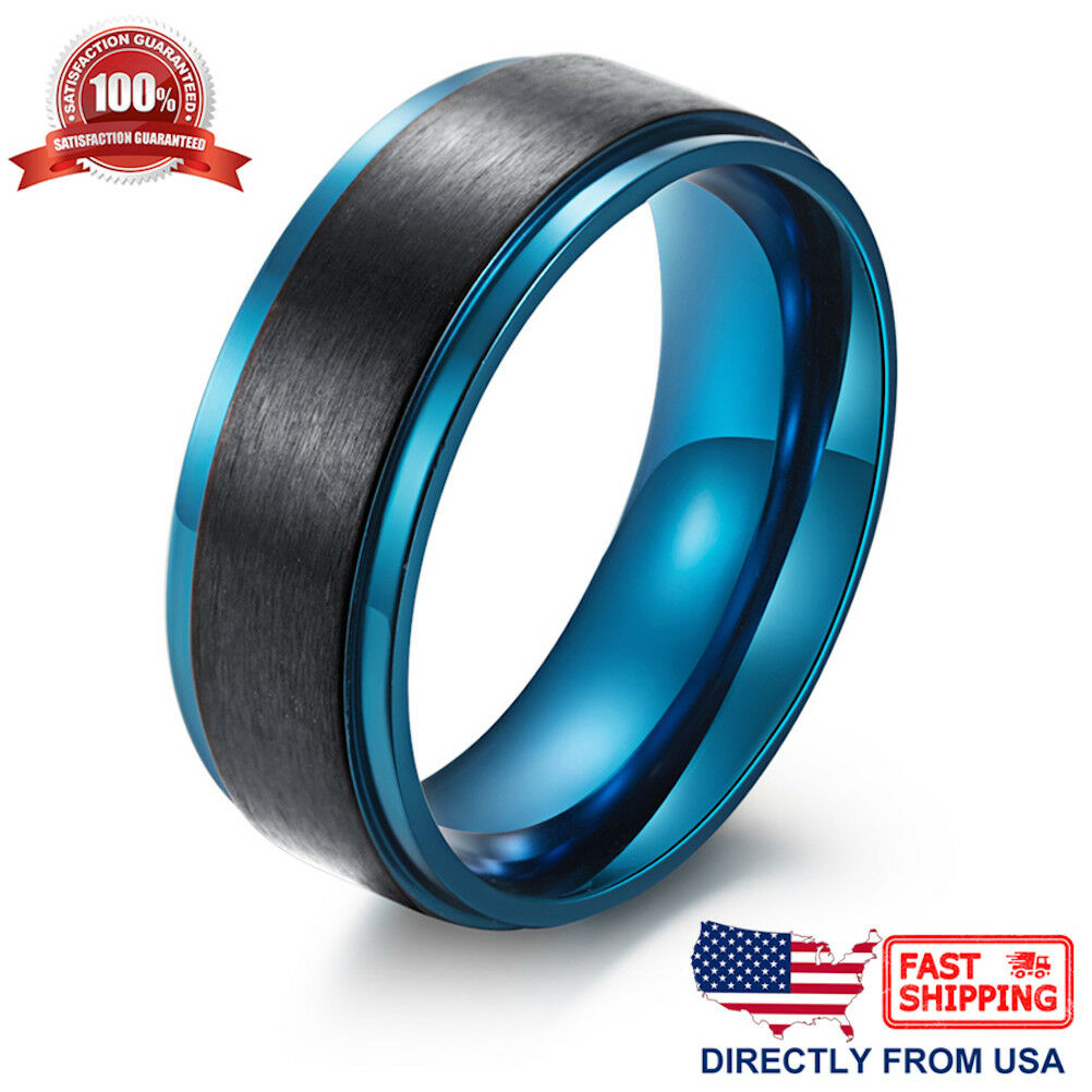 Men's Ring, Stainless Steel 8mm Brushed Black and Blue Wedding Band Jewelry & Watches