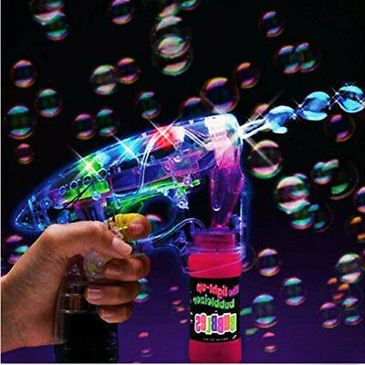 Led Bubble Gun Flashing Light Up Bubbles Blaster Squirt Blower Shooter Favors 1X