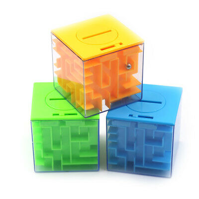 Kid 3D Cube Puzzle Maze Toy Piggy bank Hand Game Box Fun Brain Game Toys  NP