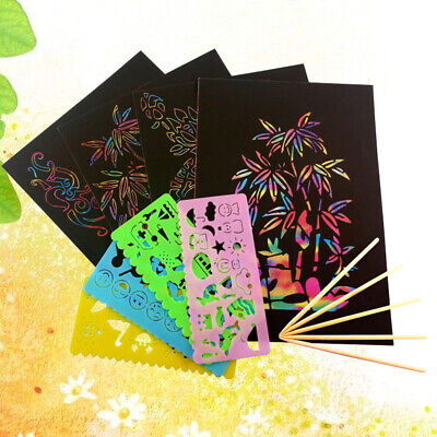 Black Scratch Art Paper (59pcs Scratch Art Paper DIY Magic Black Scratch  Paper with Stencils)