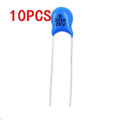 10pcs Ceramic Disc Capacitor 2000v 2kv 331k 330pf High Voltage 10