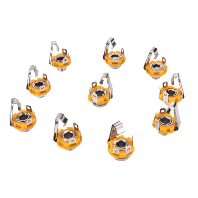 "10pcs/Set Mono 1/4"" 6.35mm ID Socket Jack Connector Panel Mount Guitar Plate AU"