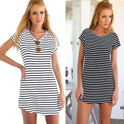 Damen Casual Dress Crew Nacken Kurzarm t-shirt Mini Dress 0U W0HWC Damen Casual Dress