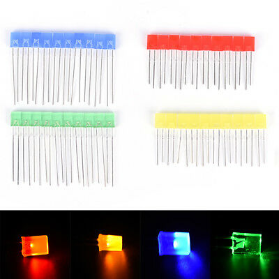 100pcs Rectangular Square Led Emitting Diodes Light Bulbs Yellowredbluegyjus