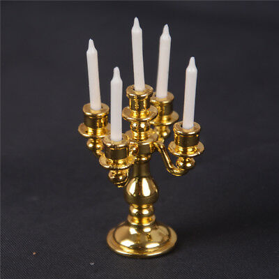 1/12 Scale Miniature Gold Candelabra 5 White Candles Dollhouse Kitchen toy VQ
