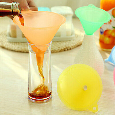 5x Colorful Plastic Funnel Small Medium Large Variety Liquid Oil Kitchen Set GX