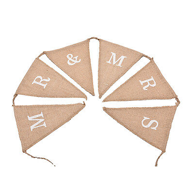 Hessian Burlap Rustic Wedding Party Decoration MR and MRS Bunting Banner Sign ~!